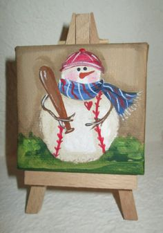 Baseball Mini Snowman A Mini Man for all by EPaintedTreasures Christmas Paintings On Canvas, Christmas Canvas, Mini Paintings, Christmas Art, Christmas Projects, Holiday Crafts, Christmas Ornaments, Canvas Paintings, Canvas Art