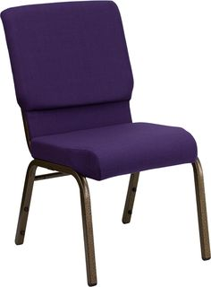 $31.99 HERCULES Series 18.5'' Wide Royal Purple Fabric Stacking Church Chair with 4.25'' Thick Seat - Gold Vein Frame, FD-CH02185-GV-ROY-GG by Flas...