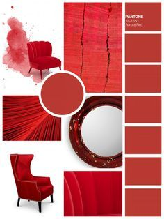 lready thinking about the best decorating ideas and color trends for this Fall? Pantone, the color authority, has released their Fall 2016 color trends! Interior Design Inspiration, Color Inspiration, Moodboard Inspiration, Contemporary Home Furniture, Luxury Furniture, Red Home Decor, Style Deco, Hotel Interiors, Colorful Chairs