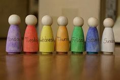 Days of the week - Like the idea of having little figures that are just on our learning table without a lot of fuss...