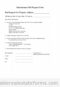 Free Subcontractor Bid Request Form And Standardized Scope Of Wor Printable Real Estate Forms Song Lyrics