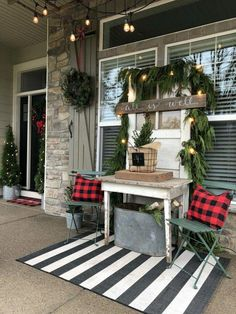If you like Front Porches Farmhouse Christmas Decorations Ideas lets read more and see our pins. I think its best of list for Front Porches Farmhouse Christmas Decorations Ideas Farmhouse Christmas Decor, Outdoor Christmas Decorations, Country Christmas, Decorating Porch For Christmas, Front Porch Ideas For Christmas, Buffalo Check Christmas Decor, Christmas Island, Xmas Ideas, Christmas Design