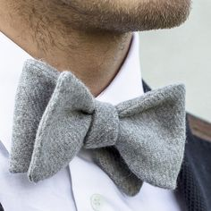 Luxury gift idea - The Grey Lambswool bow tie, handmade in 100% Supersoft Scottish Shetland lambswool. See more at www.robinsonanddapper.com.