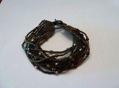Vintage broze copper glass seed bead bracelet costume jewelry Spring Summer Boho on Etsy, $7.20