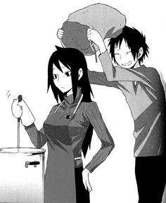 Poor Namie... | Izaya and Namie from Durarara official art