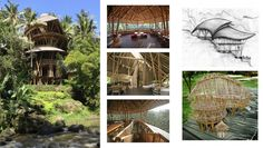 Best sustainable bamboo buildings by Elora Hardy Best Of Bali, Wood Turtle, Bamboo Building, Asian Interior Design, Wooden Elephant, Round Door, Bamboo Design, Ubud, Simple House