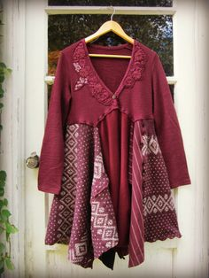 S-M-L Berry Purple Upcycled Sweater Dress// by emmevielle on Etsy