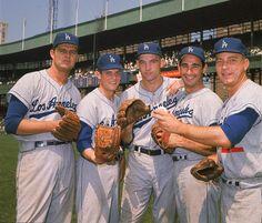 Don Drysdale, Rick Richert, Stan Williams, Sandy Koufax, and Johnny Podres