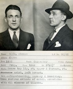 Vintage mugshots | Associates with all classes of thieves.
