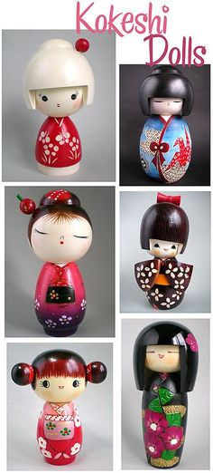 "Japanese Kokeshi dolls| I remember these. Think we may still have some around this house somewhere. It would be cool to find them to add to the ""decor"" around my space, which basically is just my knick knacks filling in nooks and crannies to decorate my bookshelves. These are kawaii, no?"