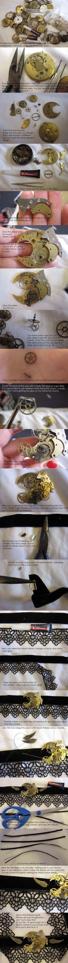 steampunk necklace DIY ... http://gothic-enchantress.deviantart.com/art/Steampunk-jewellery-tutorial-142394709