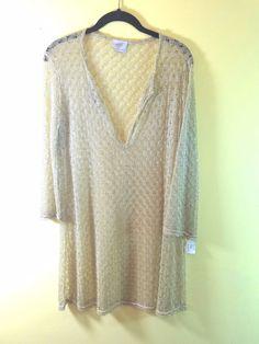 Elif for Jordan Taylor Womens Lace Gold Tunic Coverup Top Dress Medium NWOT #ElifforJordanTaylor #CoverUp