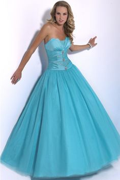Strapless taffeta and tulle ball gown silhouette with notched neckline and corset back Prom Dresses