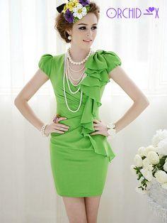 d4189b7547ccb Luxury Elegant OL Bow Ruffle Bubble Sleeve Noble Women Lady Dress s M L  D147