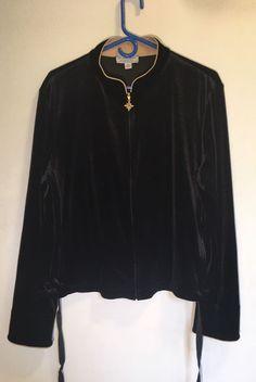 St. John Sport Marie Gray Zip Up Jacket Black Velvet Crest Design on Back Sz L  | eBay