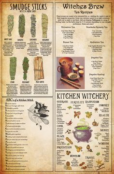 welcoming Kitchen Witchcraft Knowledge Poster Bedroom Decor A Witch Spell Book, Witchcraft Spell Books, Green Witchcraft, Magick Spells, Witchcraft Herbs, Healing Spells, Candle Spells, Witchcraft Symbols, Hoodoo Spells
