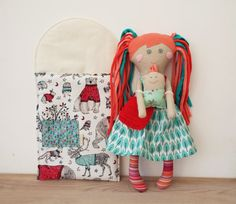 """Doll for Play,Mom and Baby, Rag Doll with Bed,Handmade Stuffed Doll, Girl Shower Gift,Doll with Cloth and Bag,Soft Doll,Retro Doll for Girl  ***FREE SHIPPING*** My friendly little handmade cloth doll is ready to meet a new friend! She is 13"""" tall (33cm) and has lots of lovely soft details that your child will adore! From her happy hand-embroidered expression to her soft pony tails and hippie dippy outfit with a cute crochet handbag this doll is 100% handmade and has a personality all of her…"""