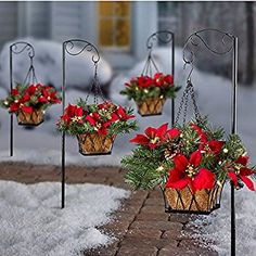 Pre-Lit Poinsettia Christmas Greenery Walkway Hanging Basket