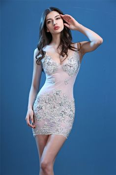 abbc961905e6 Mini V Neck Sheer See Through White Tulle Silver Lace Beaded Night Out Club  Party Dress