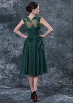 mother of the bride green dresses | ... Dresses > Scoop Tea-length Prom Dress / Dark Green Mother of The Bride