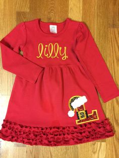 Custom Boutique Long Sleeve Red Ruffle Knit by littlehcdesigns