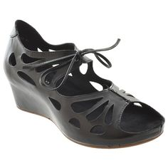 Lynn Black Leather Wrap Heels, Women's Sandals, Lace Closure, Cut Outs, Peep Toe, Dress Shoes, Black Leather, Lace Up, Wedges