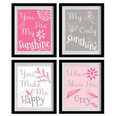 You Are My Sunshine Nursery Art Print  Pink by MadeForYouPrints, $47.95