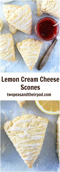 Lemon Cream Cheese Scones Recipe on twopeasandtheirpo. These light and tender lemon scones are made with butter and cream cheese! They also have a sweet lemon glaze drizzled over the tops! They are perfect for breakfast, brunch, or snack time! Just Desserts, Delicious Desserts, Dessert Recipes, Yummy Food, Tasty, Lemon Recipes, Baking Recipes, Scone Recipes, Free Recipes