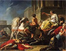 This is an illustration of the younger Tullia daughter running over her father (Servius Tullius, the 6th king of Rome) after he had been murdered by her lover, Tarquin the Proud.