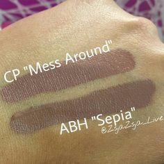 "Colourpop Ultra Satin Lip color ""Mess Around"" vs Anastasia Beverly Hills liquid lipstick color ""Sepia"""