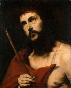 """Jusepe de Ribera  Ecce Homo (ca. 1632-34)  """"Say sweetly to your Saviour: O good Jesus, how swollen, bruised, and defiled with spittle do I behold Thy countenance! O my Love! why do I see Thee all covered with wounds?"""" - St. Paul of the Cross, Flowers of the Passion"""