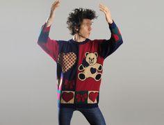 vintage 80s teddy bear heart sweater 1980 by CarnivalOfTheManiac