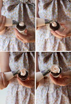 how to pipe mini rose cupcakes