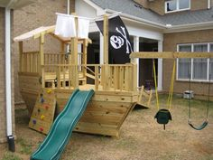 most recent photos backyard playground ideas pirate ships diy recipe : Any fortunate enough very few of my guys, even so, obtained his or her gymnasium units in which consisted of material posts this backed shots, slides,. Backyard Fort, Backyard For Kids, Kids Outdoor Play, Outdoor Fun, Outdoor Toys, Cubby Houses, Play Houses, Backyard Playground, Playground Ideas