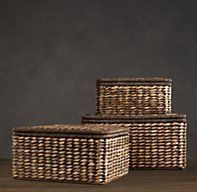 RH's Seagrass Storage Boxes Chocolate:Hand woven from seagrass, our lidded baskets lend warmth and texture to rooms, along with tidy storage. Wrought iron frames make them sturdy and substantial. Storage Containers, Storage Boxes, Storage Baskets, Office Storage, Window In Shower, Living Room Storage, Built In Shelves, Chocolate Box, Small Boxes