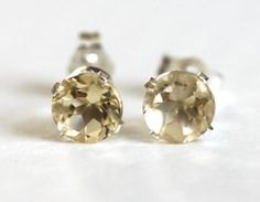 AAA Citrine Stud Earrings Sterling Silver 4 mm November Birthstone Natural Gemstones    4 mm natural golden citrine gemstones .80 ctw  VVS quality,