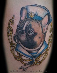 Frenchie sailor by Tuula Aikioniemi. I would get something similar to this, but with a cat.