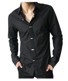 Korean cotton solid color, non-iron fashion cultivating, a casual men's long-sleeved shirt