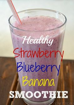 Make this healthy Strawberry Blueberry Banana Smoothie for a fabulous breakfast or snack.