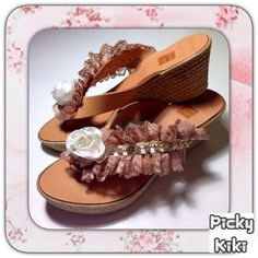 LOVELY MAMA  wedges Genuine leather, white rose Trendy Shoes, White Roses, Wedges, Sandals, Chic, Lady, Leather, Fashion, Shabby Chic