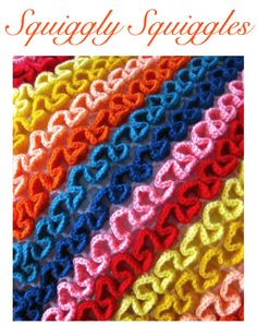 crochet, squiggles, pattern to buy from Sarah London Love Crochet, Crochet Crafts, Crochet Yarn, Yarn Crafts, Learn To Crochet, Crochet Hooks, Crochet Afghans, Crochet Stitches Patterns, Knitting Stitches