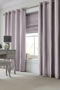 Mauve Faux Silk Blackout Eyelet Curtains