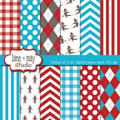 red, blue and brown sock monkey themed digital scrapbook papers on Etsy, $7.00