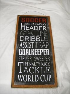 Soccer Terms on Black Breakaway Header Goal Line World Cup Sports Bedroom Wooden Wall Art Sign
