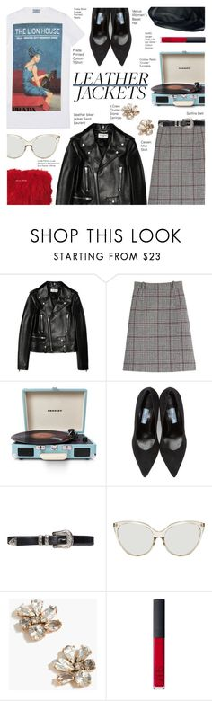 """Cool Girl Style Leather Jackets"" by voguefashion101 ❤ liked on Polyvore featuring Yves Saint Laurent, Carven, Crosley Radio & Furniture, Prada, Linda Farrow, J.Crew and NARS Cosmetics"
