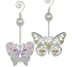 Butterfly Hanging Ornaments - Beautiful Metal Filigree Ornaments with Colorful Crystals and Pearls