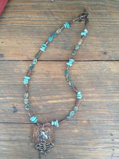 for sale on Etsy...  https://www.etsy.com/listing/211696819/handcrafted-necklace-turquoise-jewelry