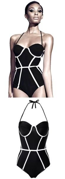 Product Description: Woman's Stylish One Piece Black & White Halter Neck Monokini Swimsuit / Beachwear. This swimsuit can also be worn strapless (Adjustable Straps) By PesciModa Material: Polyester an