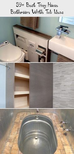 59+ Best Tiny House Bathroom with Tub Ideas #tinyhouse #bathroom #bathroomideas #Teenytinybathroom #tinybathroomWashingMachine #tinybathroomIkea #tinybathroomBoho #tinybathroomWithTub