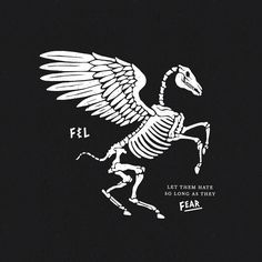 Hand-drawn illustration of Pegasus for F&L co. Let them hate, so long as they fear.